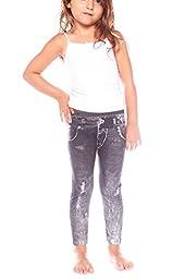 Crush Toddler Crush Girls Distressed Denim Seamless Leggings Pants 2T - 4T Black
