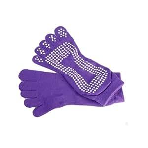 Women's Yoga Socks Full Toe with Grips Non-Slip Yoga Socks S/M (Purple)