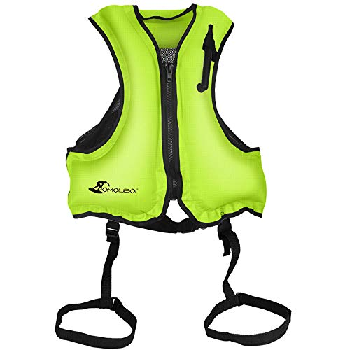 Kingswell Adult Inflatable Swim Vest, Portable Snorkel Life Jacket Buoyancy Safety Vest for Snorkeling, Free Diving, Swimming - Green