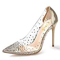Gold-2 Studded Pointed Toe Transparen Heels with Bowknot