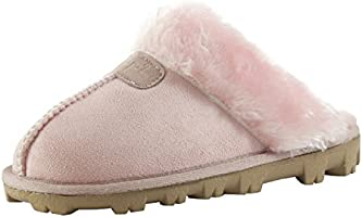 3ca67d8e20b922 CLPP LI Womens Slip On Faux Fur Warm Winter Mules Fluffy Suede Comfy  Slippers-