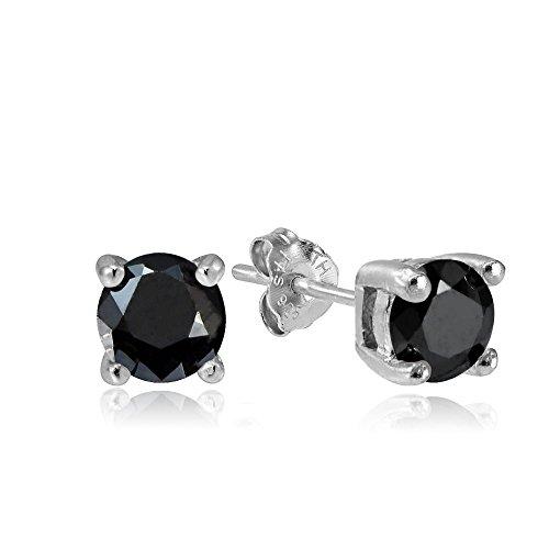 Hoops & Loops Sterling Silver 1/2ct Black Cubic Zirconia 4mm Round Stud Earrings
