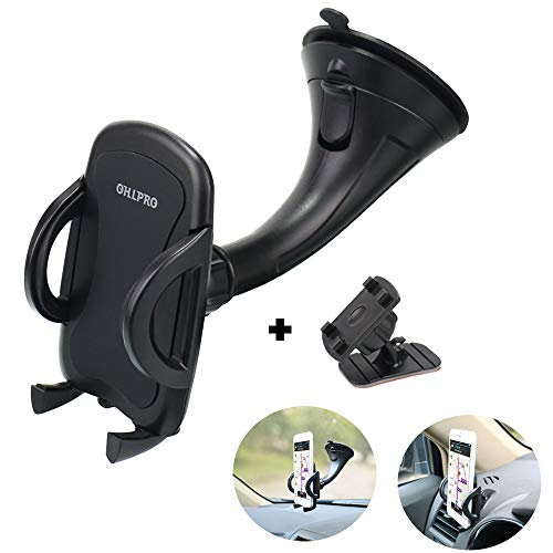 Phone Holder Car Windshield Mount,OHLPRO 2-in-1 Universal Stick on Dash Dashboard Cradle for iPhone Samsung Sony Google All 4- 6.4 Smartphones