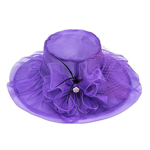 A342 Sole Da Matrimonio Vestito Del Cappello In Viola Lawliet Bordo Vasta Derby Womens Del Kentucky Chiesa wWpaC6Wqn