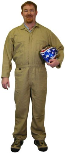 Indura Flame Resistant Coverall (9 Oz.) Size Small Khaki color - Indura Flame Resistant Coverall