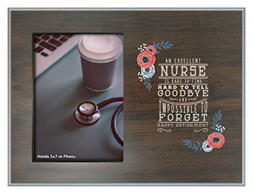 ThisWear Nurse Gifts Excellent Nurse Retirement Plaque Retiring Nurse Gifts Photo Plaque Picture Frame Wood ()