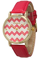 Women's Geneva Chevron Style Leather Watch - Red