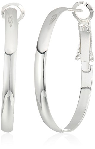Sterling Silver Lightweight Paddle Back 30x3 mm Hoop Earrings by Amazon Collection