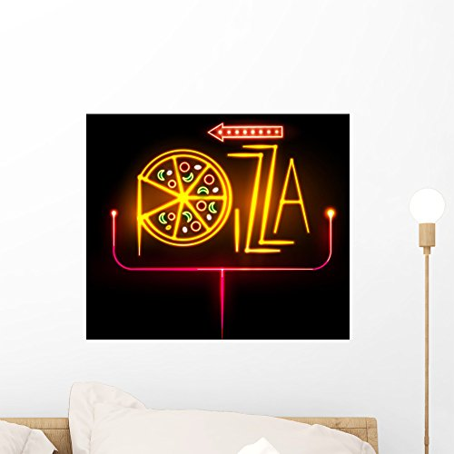 Wallmonkeys Neon Sign Pizza Wall Mural Peel and Stick Graphic (18 in H x 18 in W) ()