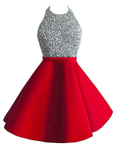 Beaded Short Dress Halter Dress (Still Waiting Women's Halter Beaded Homecoming Dress Short Sequined Bodice Backless Mini Prom Gowns 2017 D008)