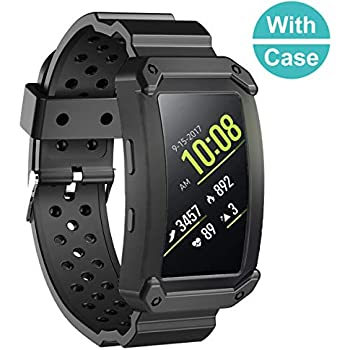 Sunjoyco Band for Gear Fit2 / Gear Fit2 Pro Bands, Shockproof Silicone Rugged Protective Frame Case with Sport Strap Replacement for Samsung Gear Fit ...