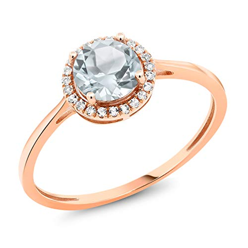 - Gem Stone King 10K Rose Gold Diamond Engagement Ring Round Sky Blue Aquamarine 0.97 cttw (Size 7)