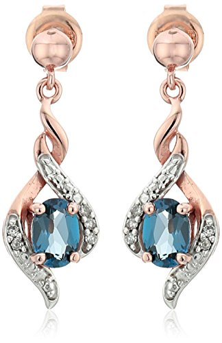 10k Rose Gold London Blue Topaz and Diamond Accent Drop Earrings