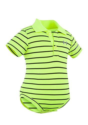 Under Armour Baby-Boys Newborn Yarn Dye Polo Bodysuit (6-9 Months, Hi Vis Yellow (27E90010-73)/Black/Reflective Silver) Yarn Dye Pique Polo
