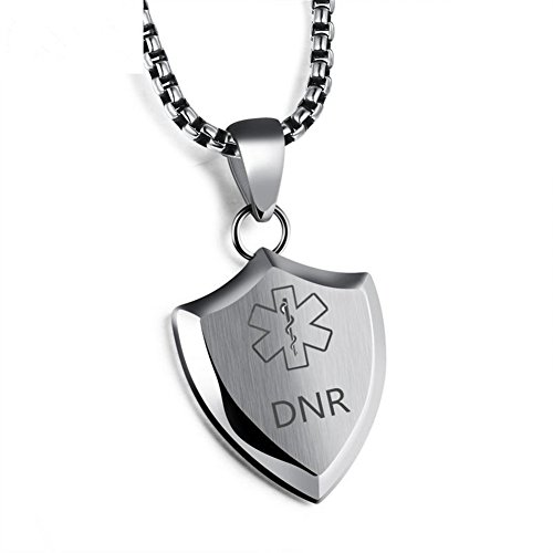 Death With Dignity DNR Necklace for Men DO NOT RESUSCITATE Stainless Steel Medical Alert Engraved Shield Pendant,Gold,Silver,Black-Respect Your Life (Health Engraved Pendant)