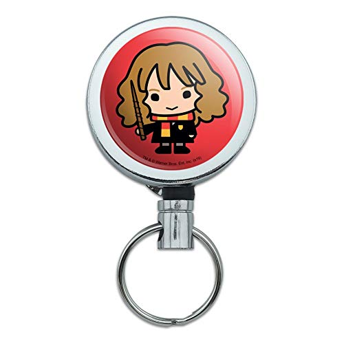Harry Potter Cute Chibi Hermione Character Heavy Duty Metal Retractable Reel ID Badge Key Card Tag Holder with Belt Clip (The Keeper Of The Keys Harry Potter)