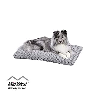 Plush Dog Bed | Ombre Swirl Dog Bed & Cat Bed | Gray 29L x 21W x 2H Inches for Medium Dog Breeds