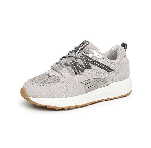 aumento Color Zapatos Zapatos casuales cómodos Zapatos aire de al mujer Zapatos estudiantes Gris Tamaño de de de de planos moda cordones deportes sencilla libre con 36 bajo Gris 7qagAT7O