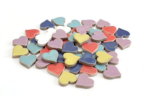 Milltown Merchants 3/4 Inch (10mm) Heart Shaped Mosaic Tile, 3 Pound (48 oz), Bulk Assortment of Heart Mosaic Tiles (750-900 Mosaic Tiles)