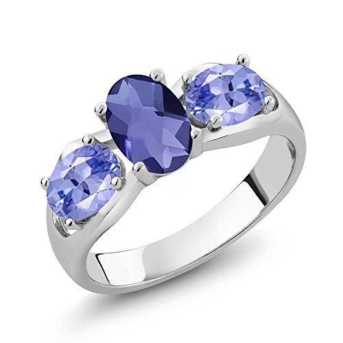 155-Ct-Oval-Checkerboard-Blue-Iolite-Blue-Tanzanite-925-Sterling-Silver-Ring