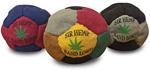 Sir Hemp Sand Lord Footbag Hacky Sack 3 Pack. Hemp Sand-Filled Footbag, Assorted Colors