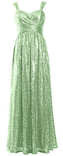 Mint Sleeveless Formal Women Evening Macloth Dress Bridesmaid Long Party Gown Sequin v47wBWq5B