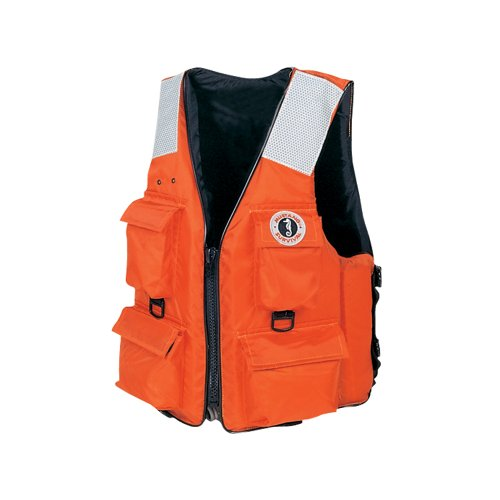 (Mustang Classic Industrial PFD with 4 Pockets, Orange, Large)