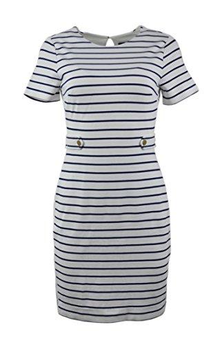 Banana Republic Women's Striped Button Tab Sheath Dress White Blue 2