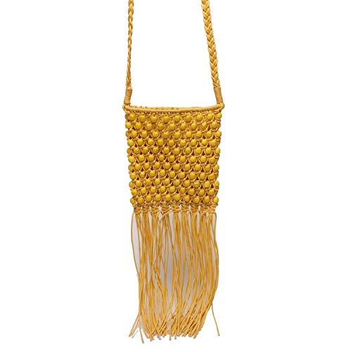 Hollow Beaded Women Shoulder Bags Rattan Rope Crossbody Bag Tassel Woven Straw Bag,yellow (Baskets Rattan Cheap Singapore)