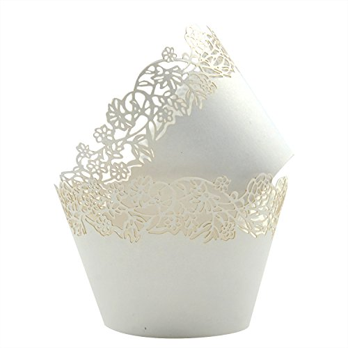 Cupcake Wrappers Pack of 50 White Filigree Artistic Bake Cake Paper Cups Little Vine Lace Laser Cut Liner Baking Cup Muffin Case Trays for Wedding Party Birthday Decoration -By KEIVA (White) ()