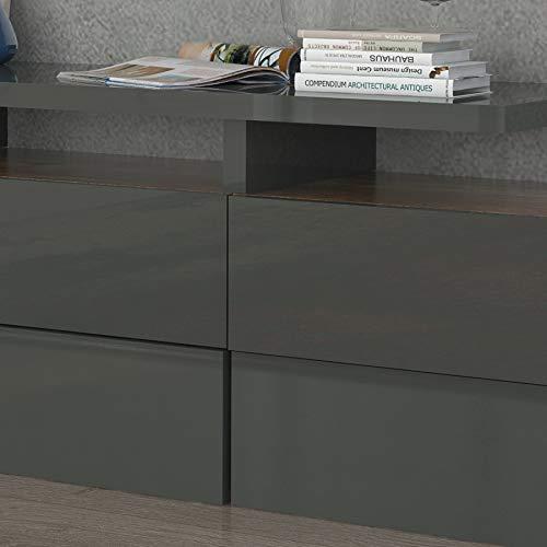 Kasalinea Olympus - Mueble para televisor, Color Gris Lacado y Madera: Amazon.es: Hogar