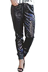 Women's Fashion Sequin Flared High Waist Trousers