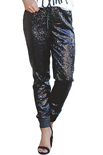 (Azokoe Womens Fashion Sequin Flared Trousers High Waisted Casual Loose Stretch Glitter Overalls Legging Joggers Maxi Pants Size 8 10)