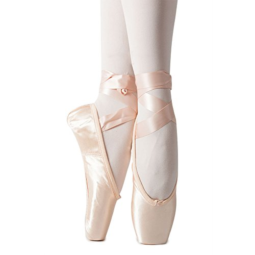 Womens Professional Full Sole Ballet Dance Pointe Flats with Toe Pad 11 M ()