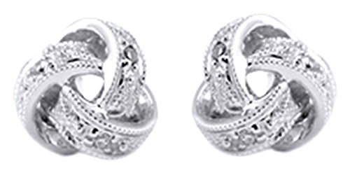 Mothers Day Jewelry Gifts Round Cut White Natural Diamond Love Knot Stud Earrings In 14K Solid White Gold