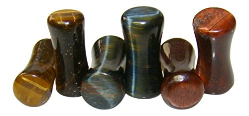 -ALL 3 PAIR- Yellow, Blue & Red Tiger Eye Organic Stone Plugs Double Flare Gauges (4g (5mm))