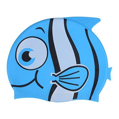 Zelta Waterproof Swimming Cap Animal Shaped Seamless Silicone for Kids  (Blue Walleye Fish)