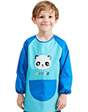 Kids Art Smock, Waterproof Children Art Aprons Artist Painting Aprons with Long Sleeve and Pocket for Boys Girls Age 6-9 Years