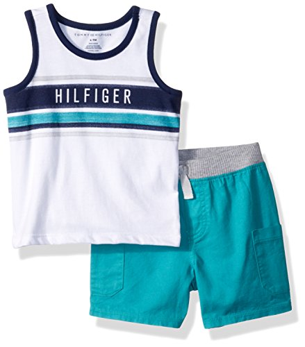 Tommy Hilfiger Baby Boys 2 Pieces Tank Shorts Set, White/Green 6-9 Months