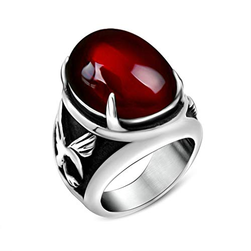 - KnSam Mens Rings Red Stainless Steel Eagle Cubic Zirconia Ring Size 11
