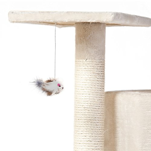 Cat Tree 28'' (L) X 38'' (W) X 80'' (H) Condo Furniture Scratching Post Pet Cat Kitten House High Quality hanging rope and toys by Thailand (Image #2)