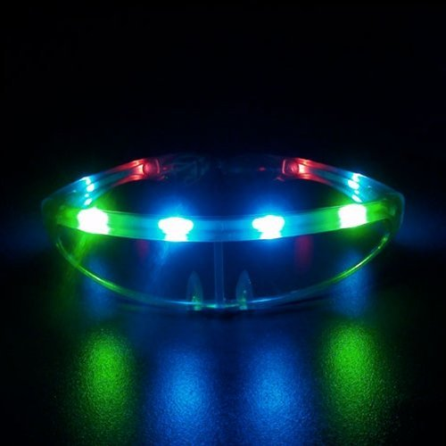 1 Pair of LED UFO Clear Multi Color Space Light Up Party Glasses