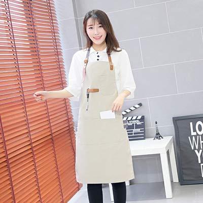 クッキングキッチンエプロンホームワークタバード キッチンカフェスーパーマーケットベーキングバー男性と女性韓国版コットンリネンオーバーオールエプロン(カラー:カーキ) (色 : Khaki)  Khaki B07QFLRBPQ