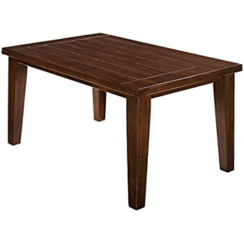 Ashley Furniture Signature Design   Larchmont Dining Room Table   Counter  Height With Built In Extension   Vintage Casual   Burnished Dark Brown