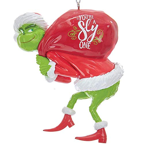 Johnson Smith Co. - KURT S ADLER INC Grinch with Red Sack Christmas Tree Ornament - Dr Suess Holiday Decoration