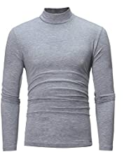 SGYH Mens Pure Color Turtleneck Long Sleeve T-Shirt Cotton Slim fit Bottoming Shirt Tops Blouses