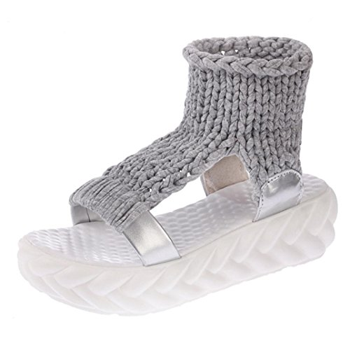 Jamicy Women Summer Fashion Platform Wedge Casual Sandals Shoes Gray