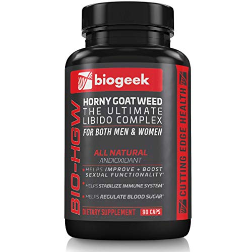 BIOGEEK Premium Horny Goat Weed Improves Your Libido, Immune System and Cardiovascular Health and Helps Regulates Blood Sugar for Men and Women Made in The USA