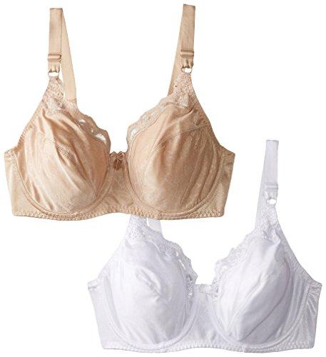 Hanes Women's Lace Trim Underwire Bra 2-PackWhite/Nude, 38C
