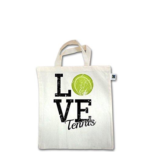 Tennis - Love Tennis - Unisize - Natural - XT500 - Fairtrade Henkeltasche / Jutebeutel mit kurzen Henkeln aus Bio-Baumwolle